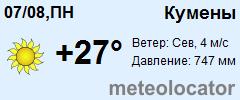 Кумены - прогноз погоды на неделю от Гидрометцентра